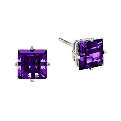 Genuine Amethyst 14K White Gold Princess-Cut Earrings