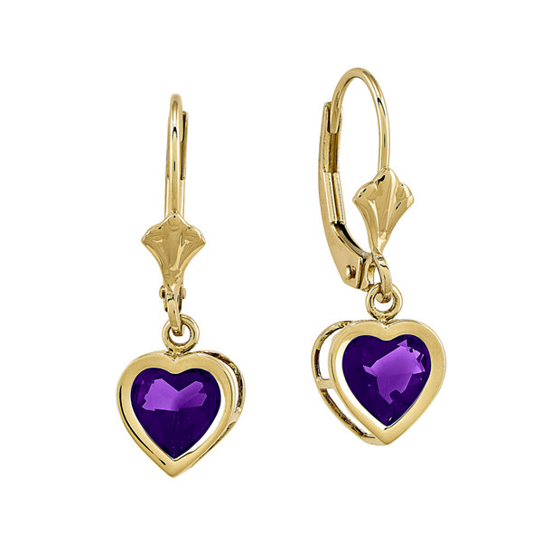Genuine Amethyst 14K Yellow Heart-Shaped Gold  Earrings