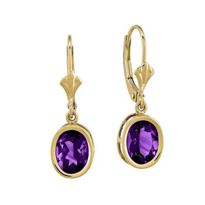 Genuine Amethyst 14K Yellow Gold Earrings