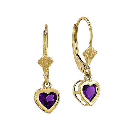 Genuine Amethyst 14K Yellow Gold Heart-Shaped Earrings