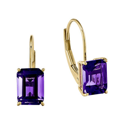 Genuine Amethyst 14K Yellow Gold Emerald-Cut Earrings