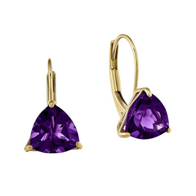 Genuine Amethyst 14K Yellow Gold Trillion Earrings