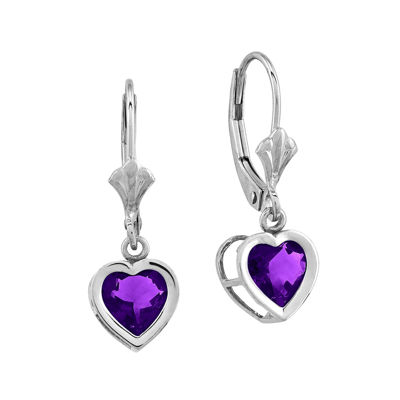 Heart-Shaped Genuine Amethyst 14K White Gold Leverback Earrings