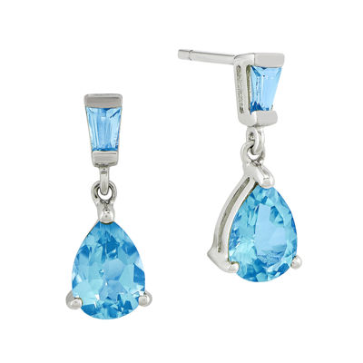 Genuine Blue Topaz 14K White Gold Post Dangle Earrings