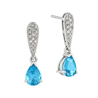 Genuine Swiss Blue Topaz 14K White Gold Earrings