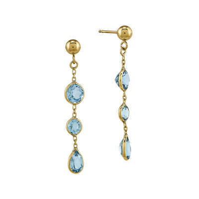 Genuine Blue Topaz 14K Yellow Gold Post Dangle Earrings