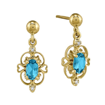 Genuine Blue Topaz and Diamond-Accent 14K Yellow Gold Earrings