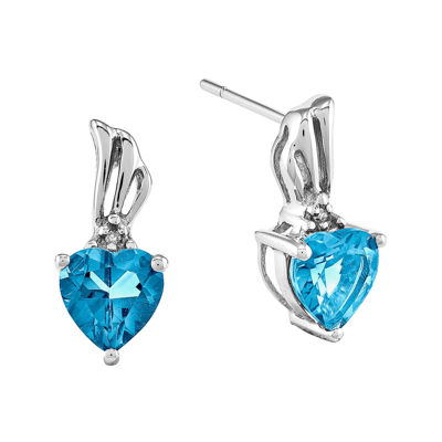 Genuine Swiss Blue Topaz with Diamond-Accent 14K White Gold Earrings