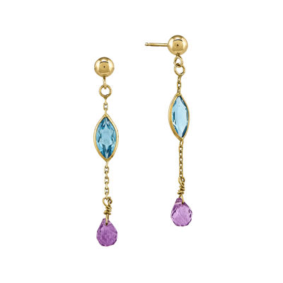 Genuine Blue Topaz and Amethyst 14K Yellow Gold Earrings