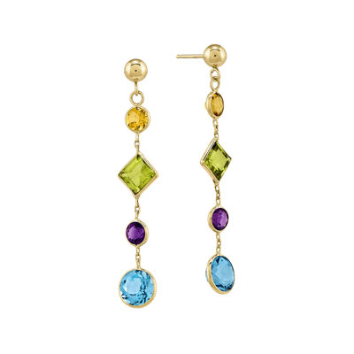 Genuine Multi-Stone 14K Yellow Gold Post Earrings