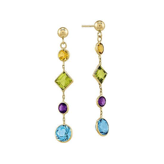 Genuine Multi-Stone 14K Yellow Gold Post Earrings