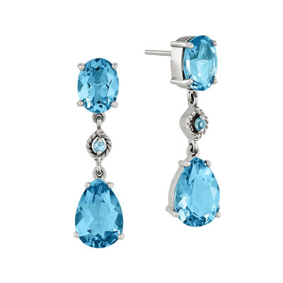 Genuine Blue Topaz 14K White Gold Dangle Earrings