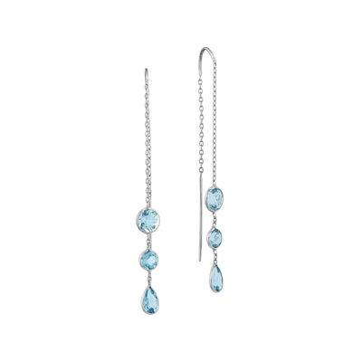 Genuine Swiss Blue Topaz 14K White Gold Wire Earrings