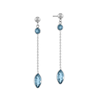 Genuine Swiss Blue Topaz 14K White Gold Two-Stone Earrings