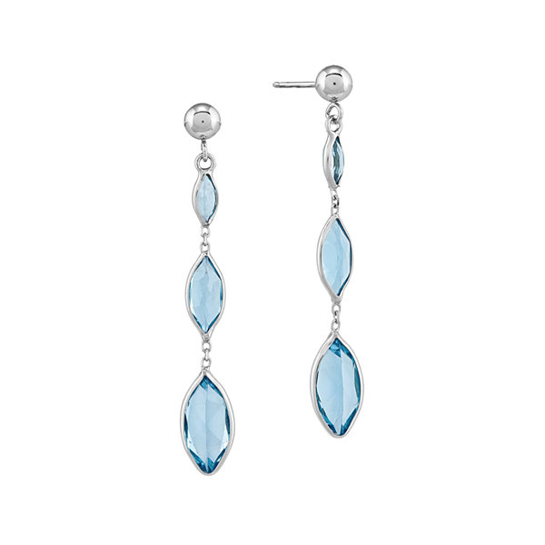 Genuine Swiss Blue Topaz 14K White Gold Three-Stone Earrings