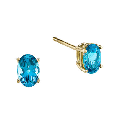 Genuine Swiss Blue Topaz 14K Yellow Gold Earrings