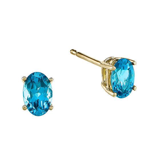 Genuine Swiss Blue Topaz 14K Yellow Gold Earrings