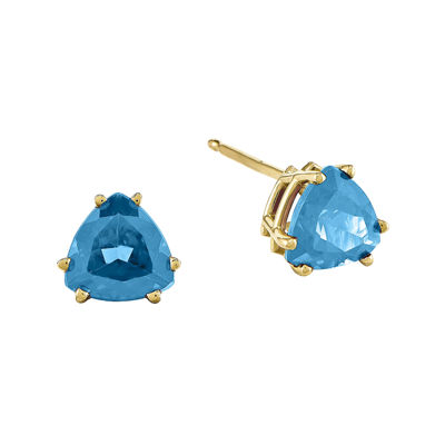 Genuine Swiss Blue Topaz 14K Yellow Gold Trillion-Shaped Earrings