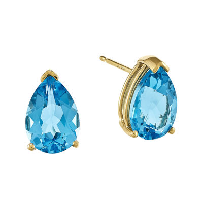 Genuine Swiss Blue Topaz 14K Yellow Gold Pear-Shaped Earrings