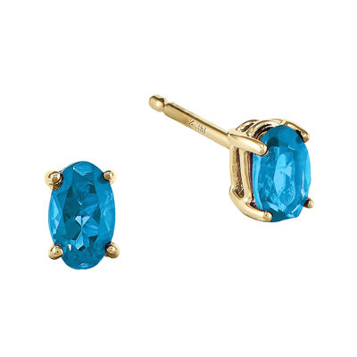 Genuine Swiss Blue Topaz 14K Yellow Gold Oval Earrings