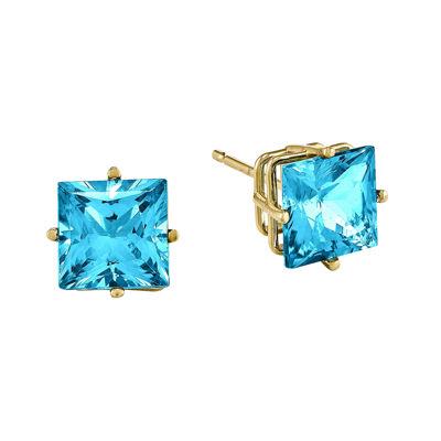 Genuine Swiss Blue Topaz 14K Yellow Gold Princess-Cut Earrings