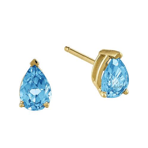 Genuine Swiss Blue Topaz 14K Yellow Gold Pear-Shaped Earrings