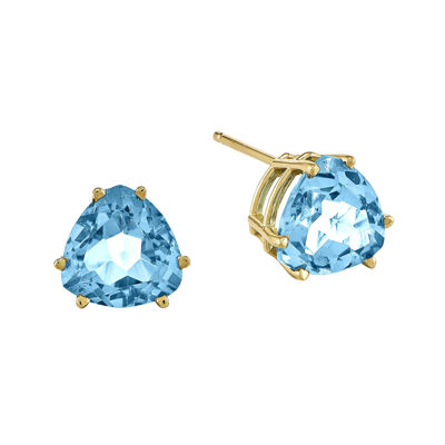 Genuine Swiss Blue Topaz 14K Yellow Gold Trillion-Cut Earrings