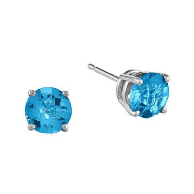 Genuine Swiss Blue Topaz 14K White Gold Round Earrings