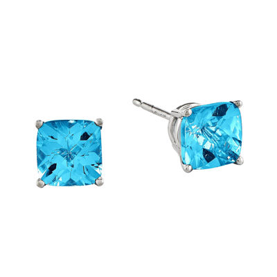 Cushion-Cut Genuine Blue Topaz 14K White Gold Earrings