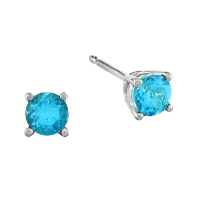 Round Genuine Blue Topaz 14K White Gold Earrings