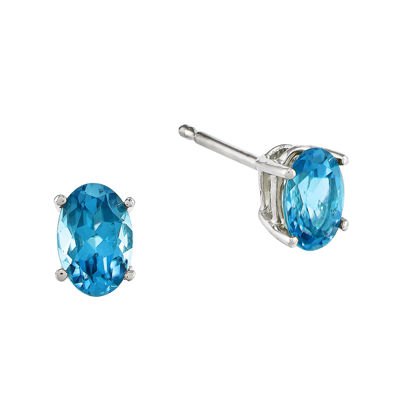 Oval Genuine Blue Topaz 14K White Gold Earrings