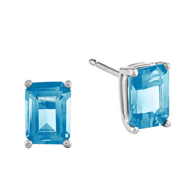 Genuine Blue Topaz 14K White Gold Emerald-Cut Earrings