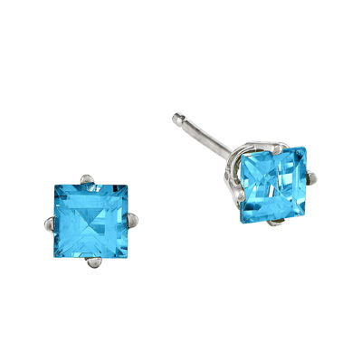 Genuine Blue Topaz 14K White Gold Princess-Cut Earrings