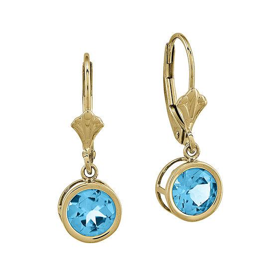 Genuine Blue Topaz 14K Yellow Gold Earrings