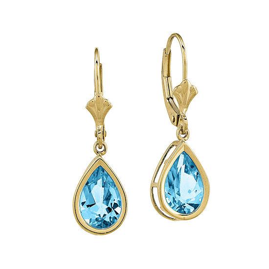 Genuine Blue Topaz 14K Yellow Gold Pear-Shaped Earrings