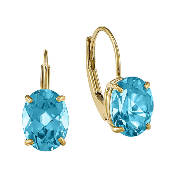 Oval Genuine Blue Topaz 14K Yellow Gold Leverback Earrings