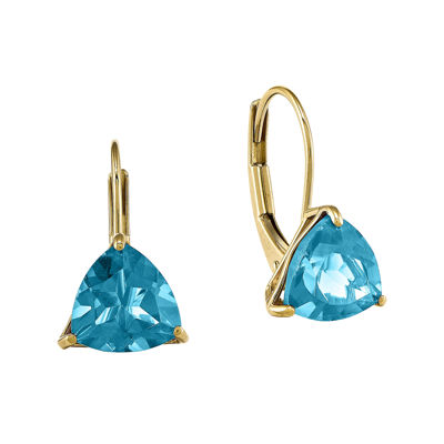 Trillion-Cut Genuine Blue Topaz 14K Yellow Gold Leverback Earrings