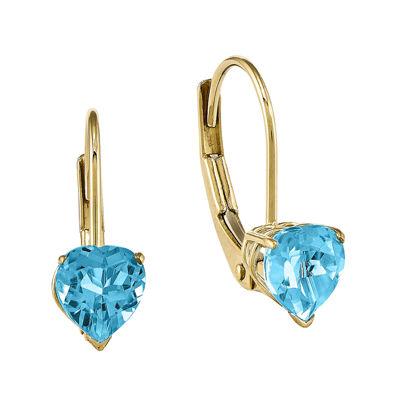 Genuine Blue Topaz 14K Yellow Gold Heart-Shaped Earrings