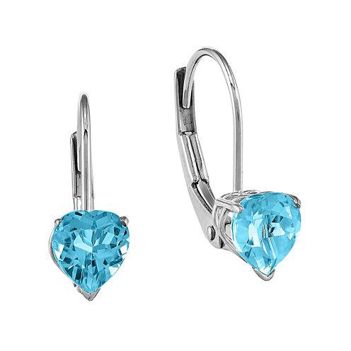 Heart-Shaped Genuine Blue Topaz 14K White Gold  Earrings