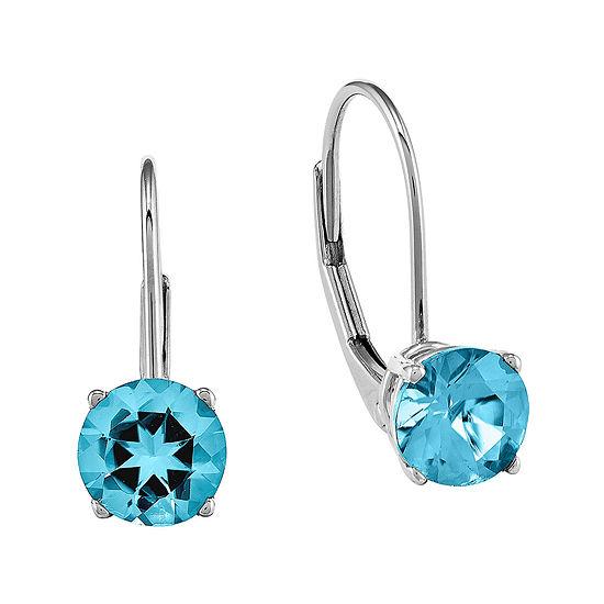 Round Genuine Blue Topaz 14K White Gold Earrings