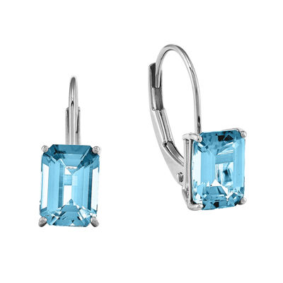 Emerald-Cut Genuine Blue Topaz 14K White Gold Earrings