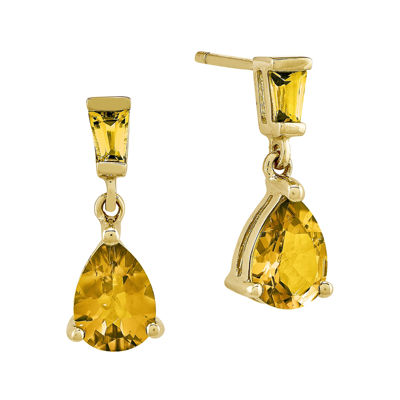 Genuine Citrine 14K Yellow Gold Post Dangle Earrings