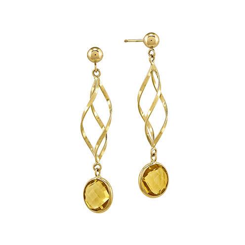 Genuine Citrine 14K Yellow Gold Swirl Drop Earrings