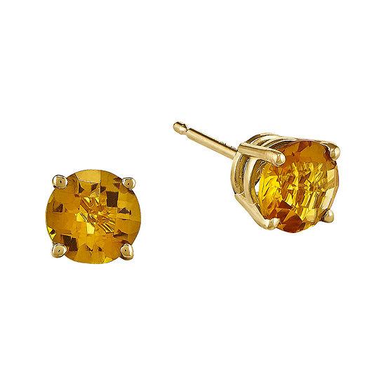 Genuine Yellow Citrine 14K Yellow Gold 6mm Stud Earrings