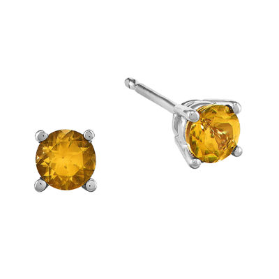 Genuine Citrine 14K White Gold Round Stud Earrings