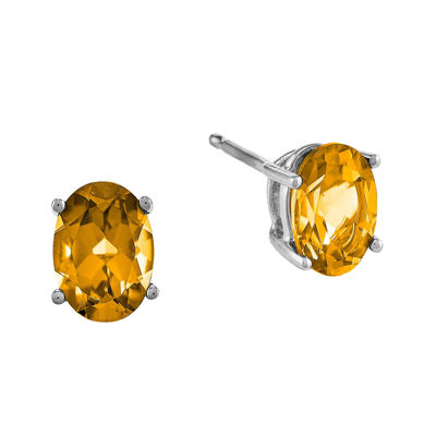 Genuine Citrine 14K White Gold Oval Stud Earrings