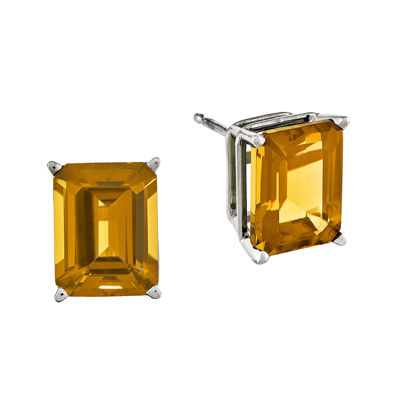 Genuine Citrine 14K White Gold Emerald-Cut Stud Earrings