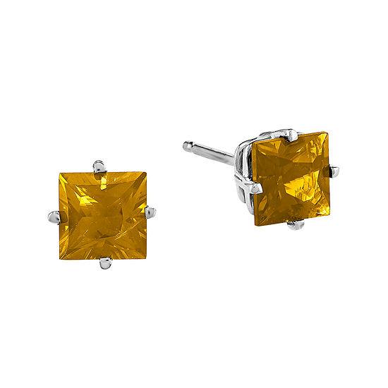Genuine Citrine 14K White Gold Earrings