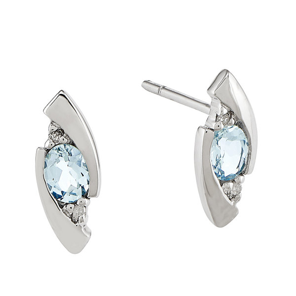 Genuine Aquamarine and Diamond-Accent 14K White Gold Earrings