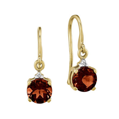 Round Genuine Garnet and Diamond-Accent 14K Yellow Gold Drop Earrings